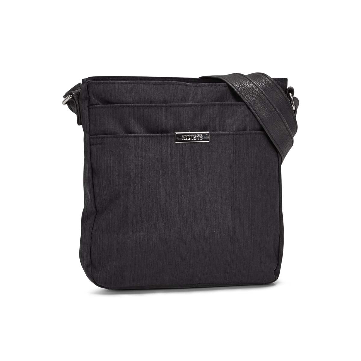 Lds black 2 front pocket crossbody