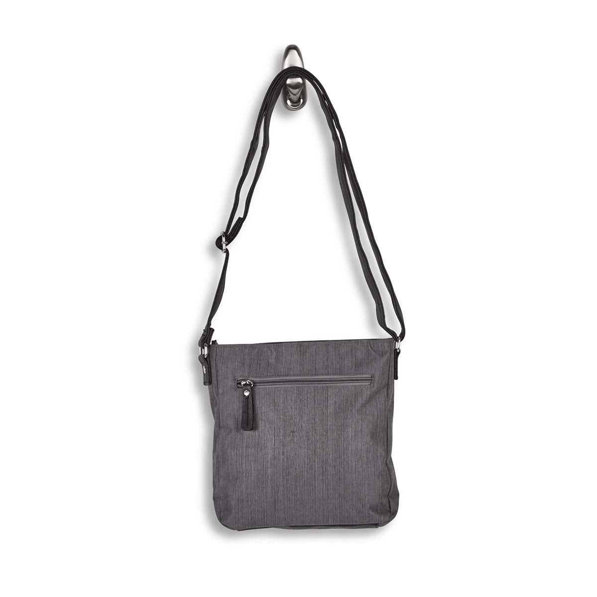 Lds grey 2 front pocket crossbody