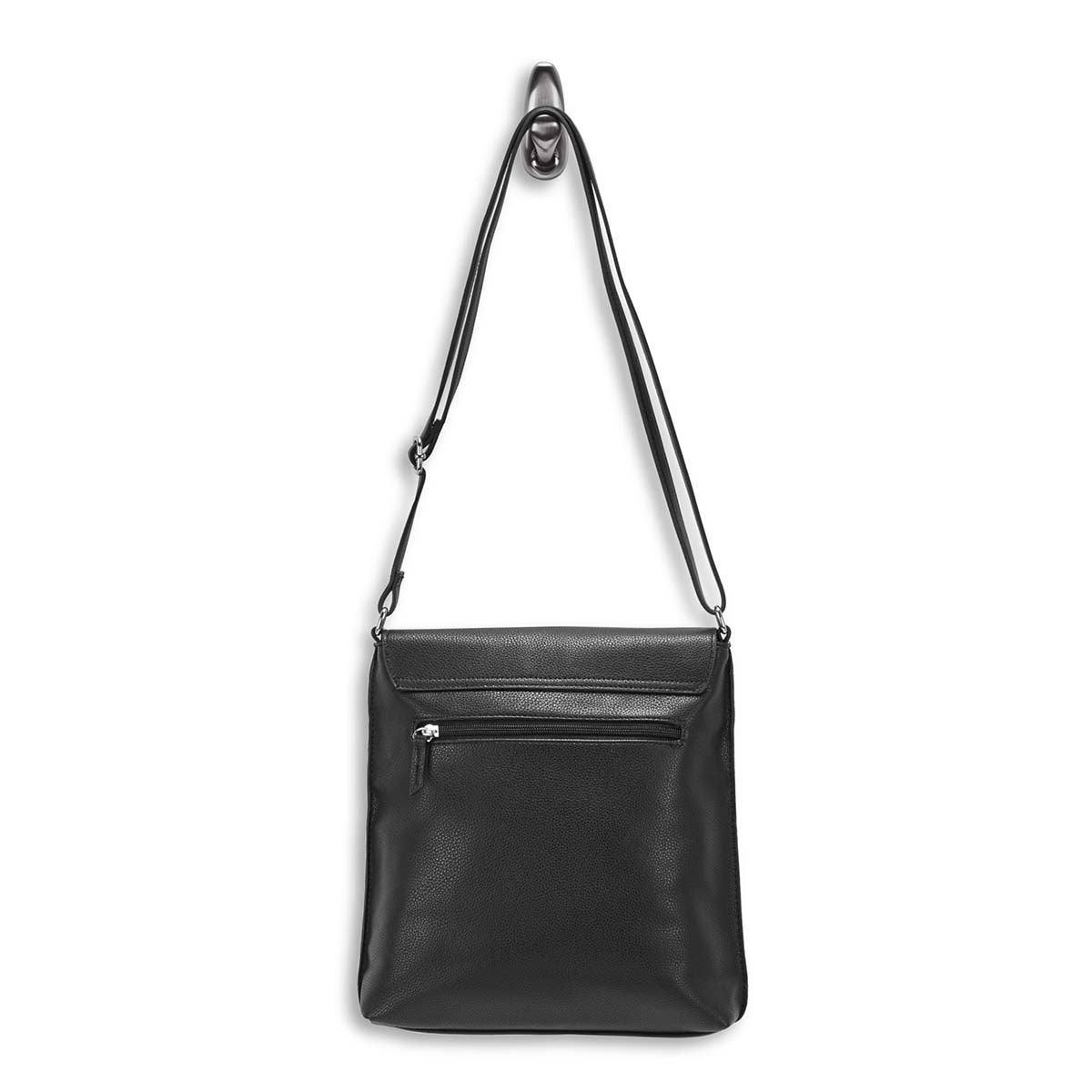 Lds Roots73 blk double flap cross body