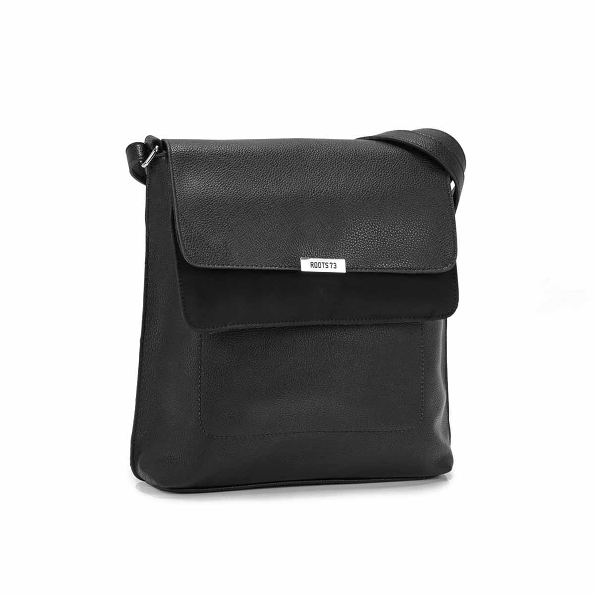 Women's R5347 black double flap crossbody bag