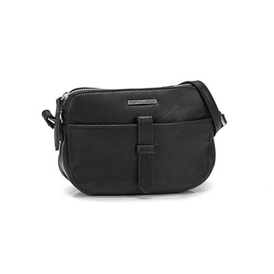 Lds black mini cross body w/front pocket