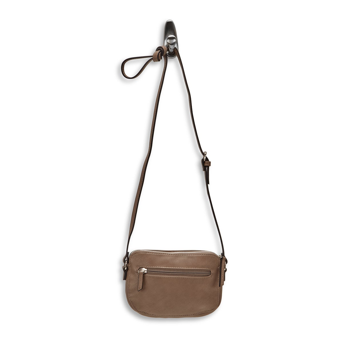 Lds mocha mini cross body w/front pocket