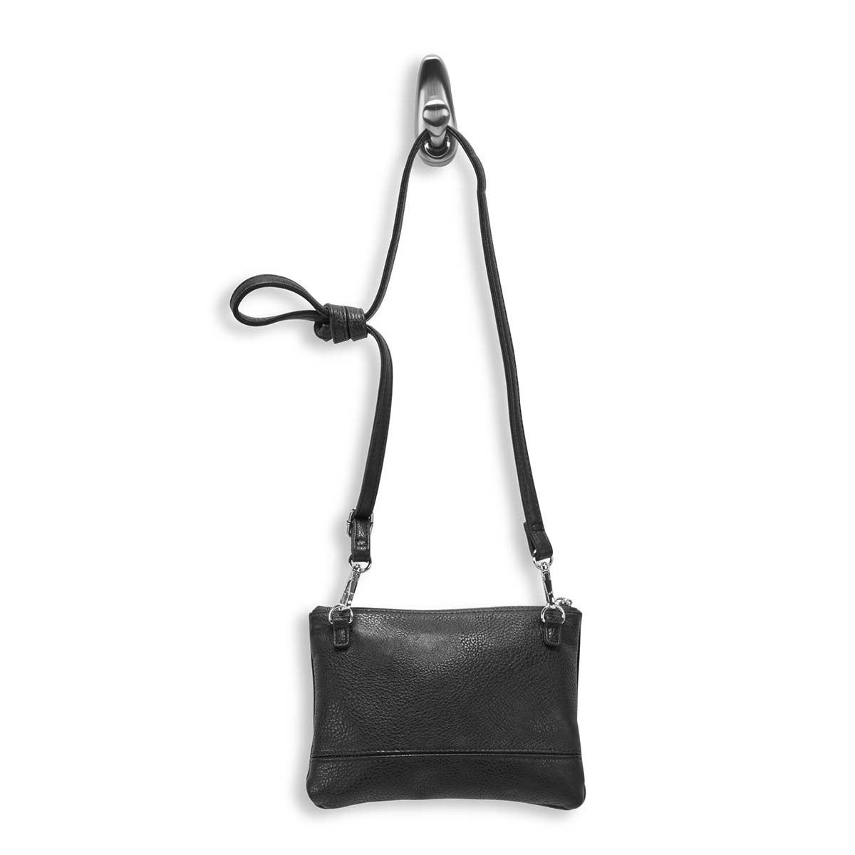 Lds Roots73 blk flat top zip cross body