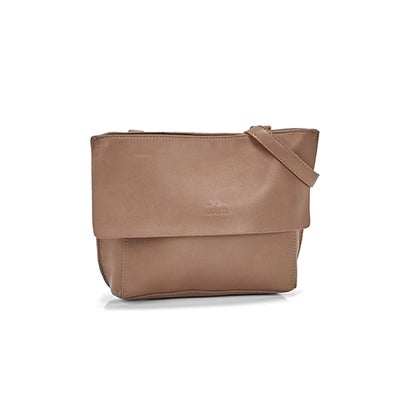 Roots Women`s R5368 taupe flap cross body bag