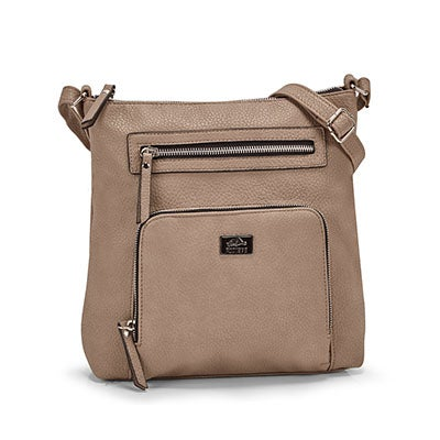Roots Women's R5387 taupe NORTH/SOUTH crossbody bag