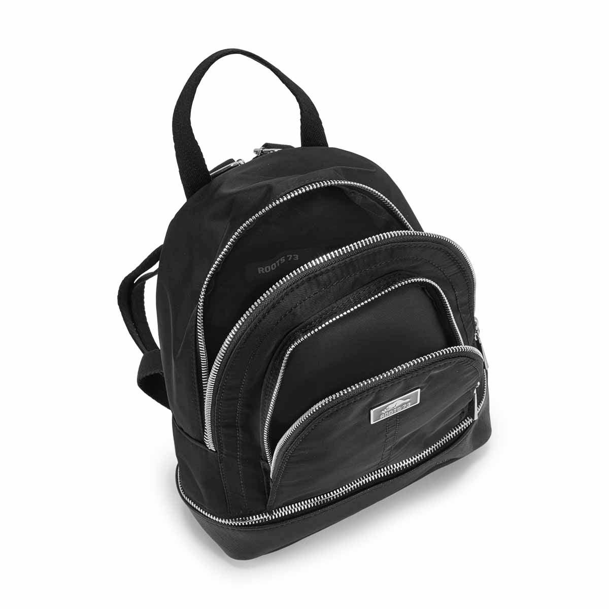 Lds blk zippered bottom mini backpack