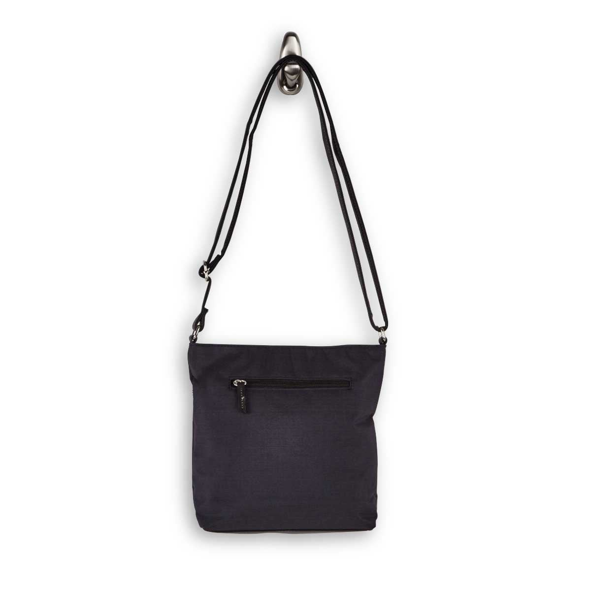 Lds Roots73 black buckled flap crossbody