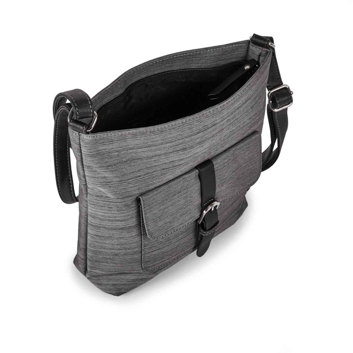 Lds Roots73 grey buckled flap crossbody