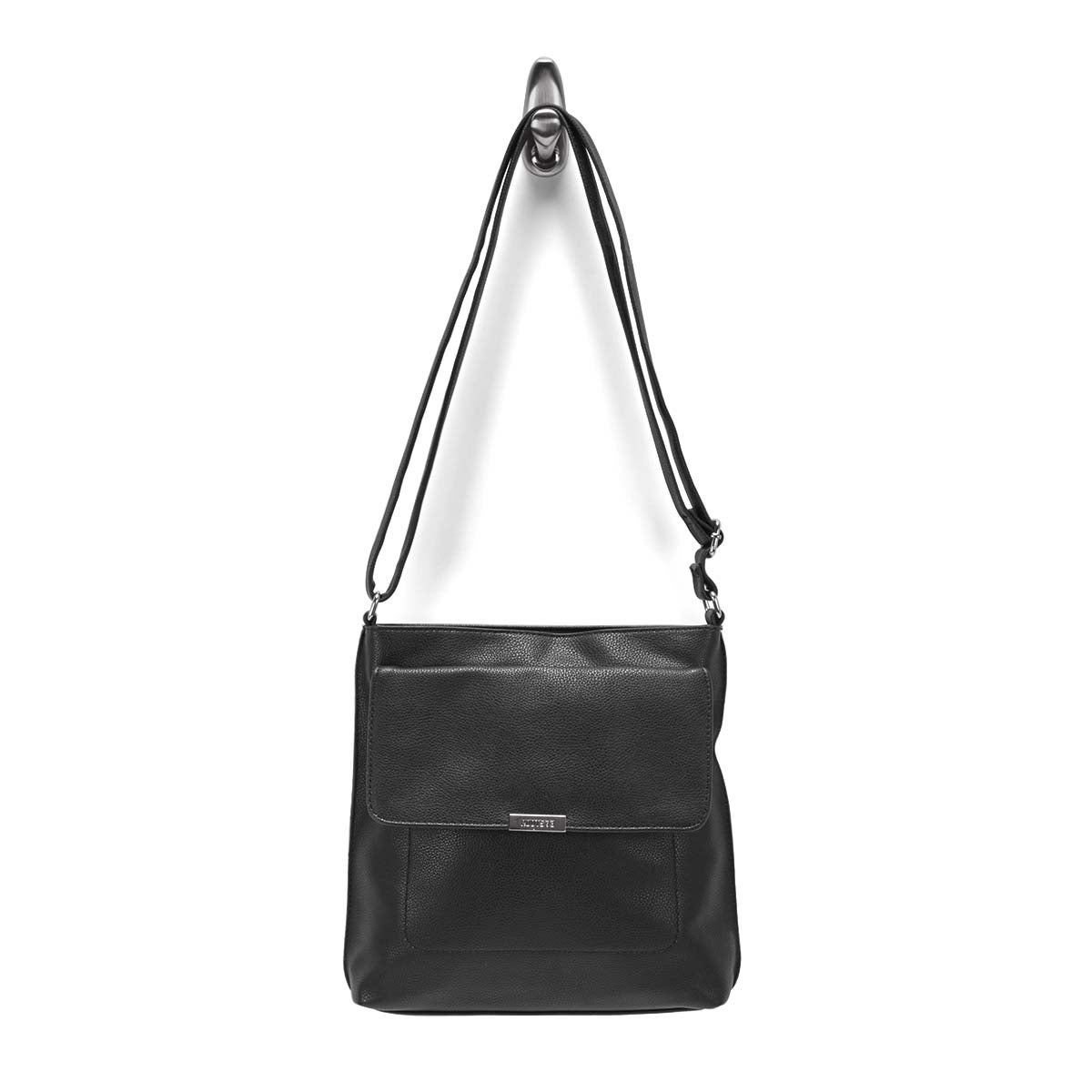 Lds Roots73 blk front flap crossbody