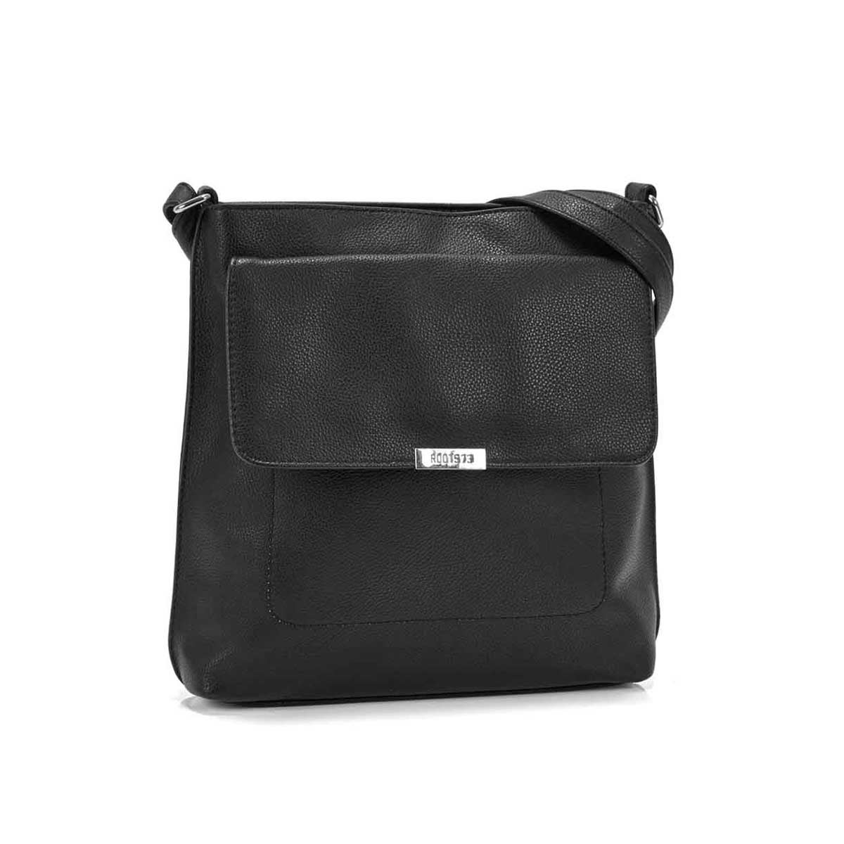 Women's R5431 black front flap crossbody bag