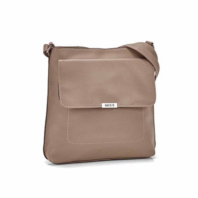 Roots Women's R5431 taupe front flap crossbody bag