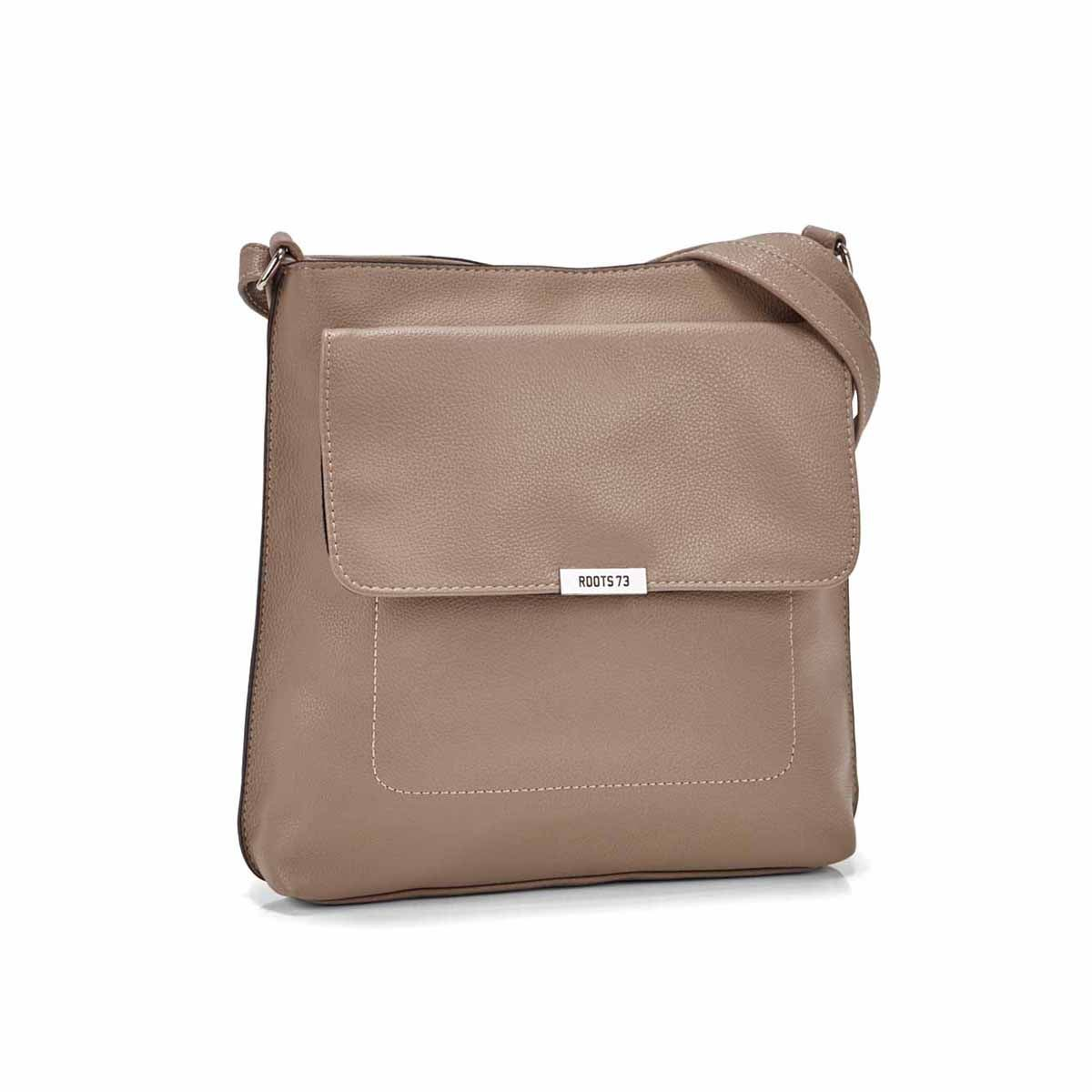 Women's R5431 taupe front flap crossbody bag