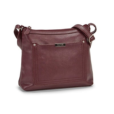 Roots Women's R5438 burgundy stitched pocket crossbody