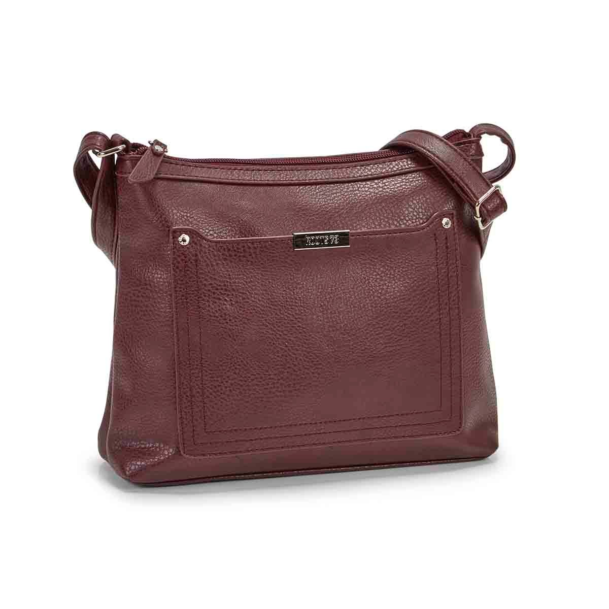 Women's R5438 burgundy stitched pocket crossbody