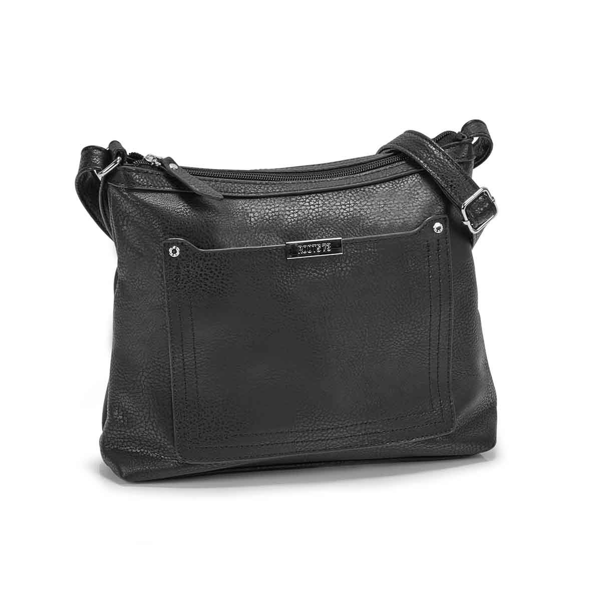 Lds Roots73 blk stiched pocket crossbody