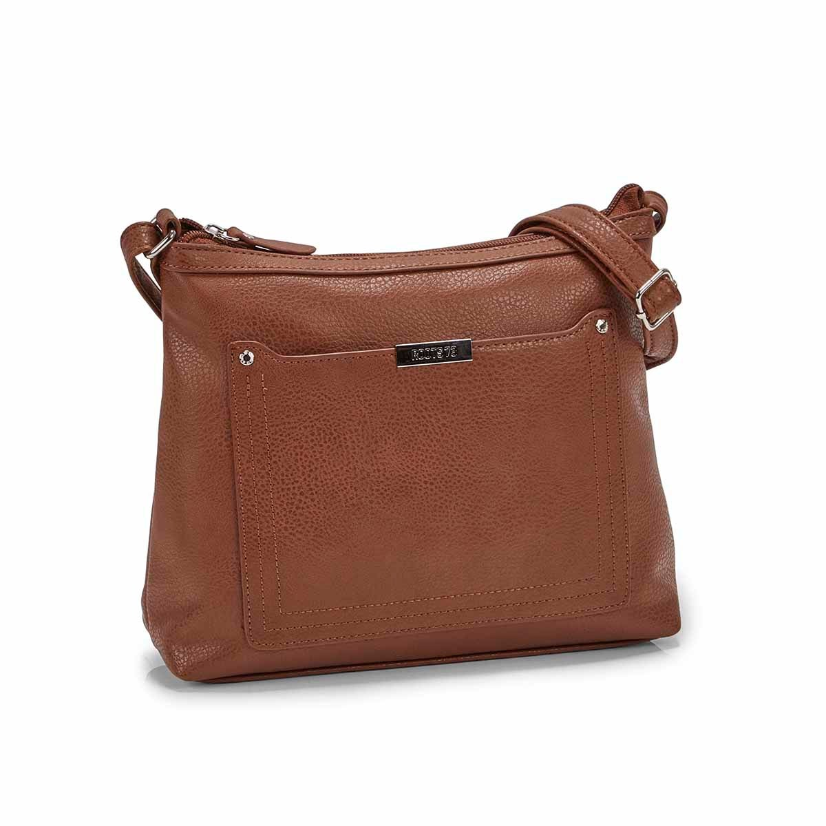 Women's R5438 cognac stitched pocket crossbody