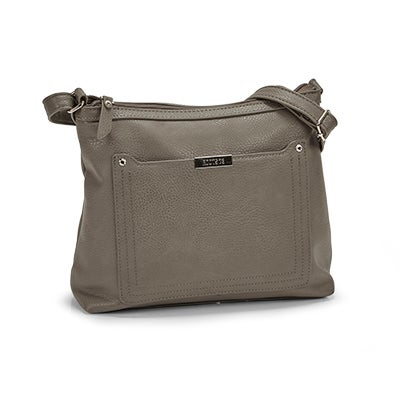 Roots Women's R5438 grey stitched pocket crossbody