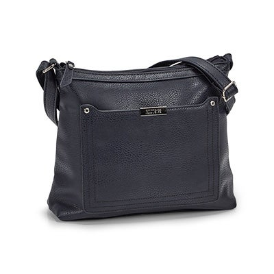Roots Women's 5438 navy stiched pocket crossbody bag