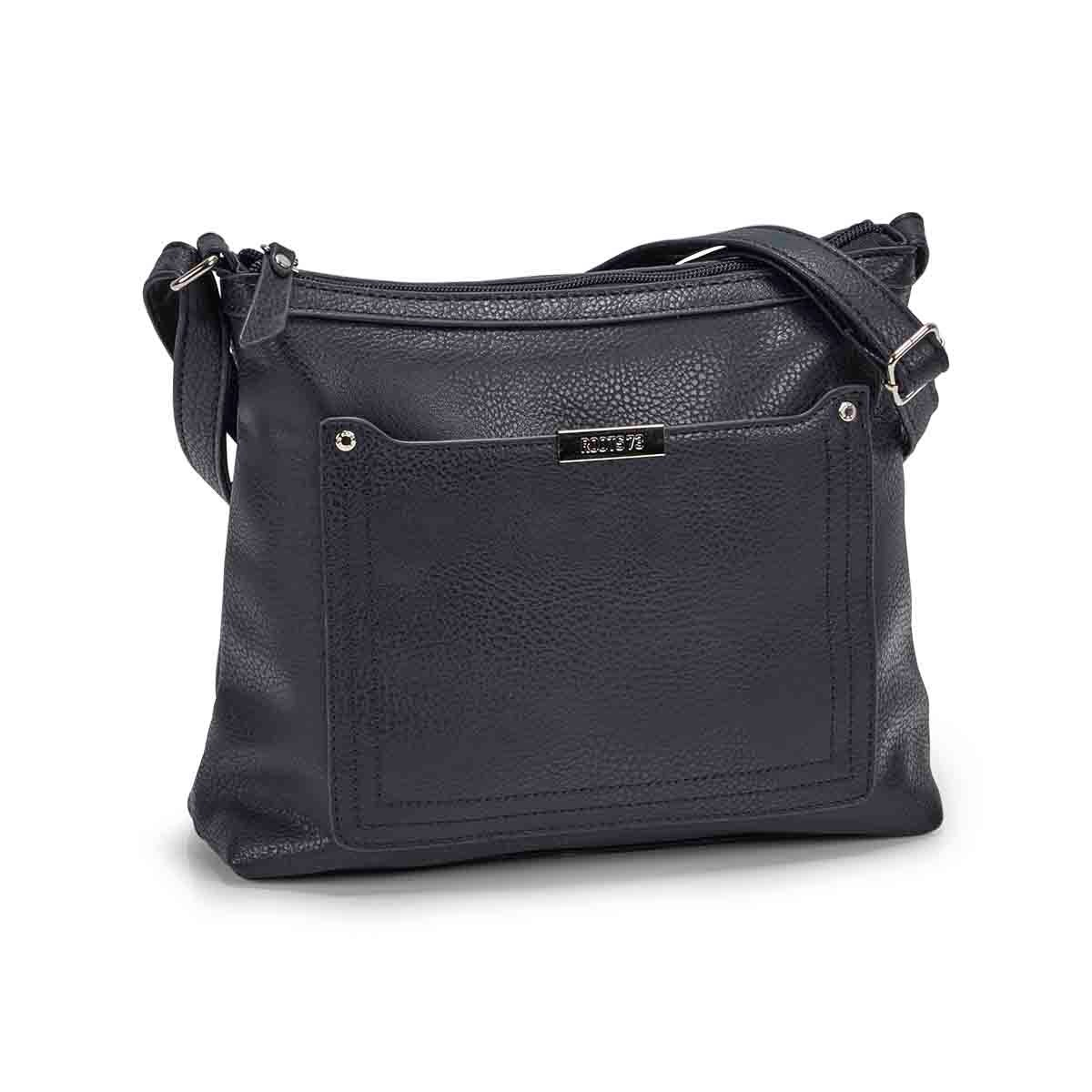 Women's 5438 navy stiched pocket crossbody bag