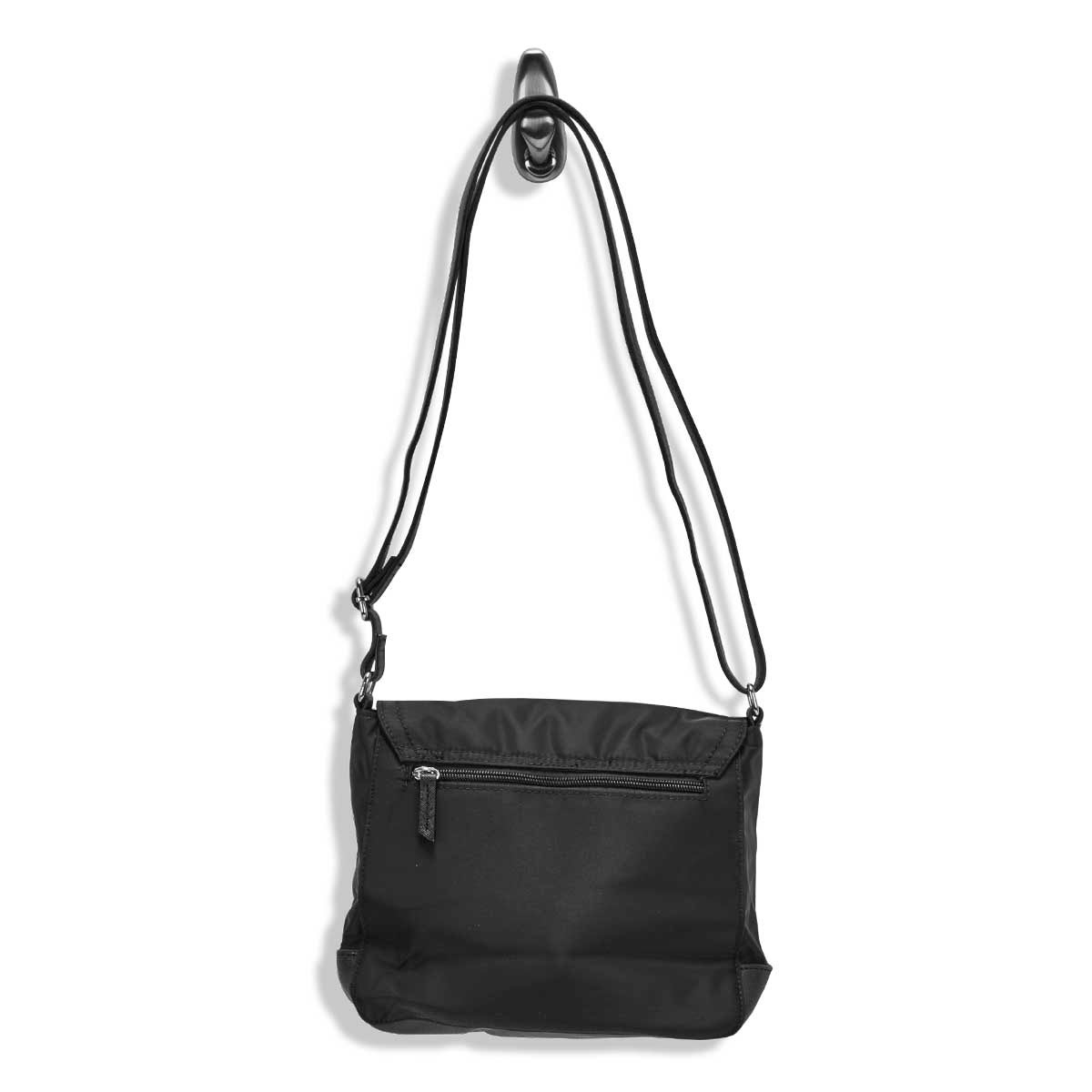 Lds Roots73 blk zip flap over crossbody