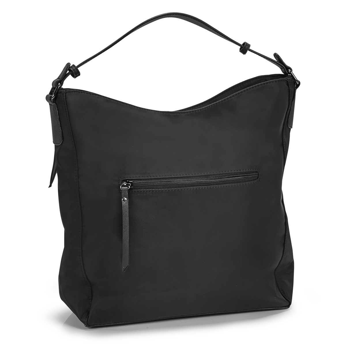 Lds Roots73blk vertical pockets hobo bag