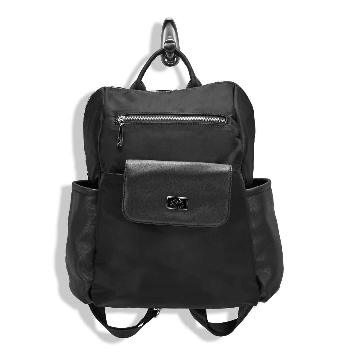 Lds blk detachable front pocket backpack