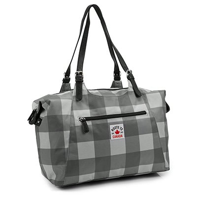 Roots Women's R5469 grey plaid overnight bag