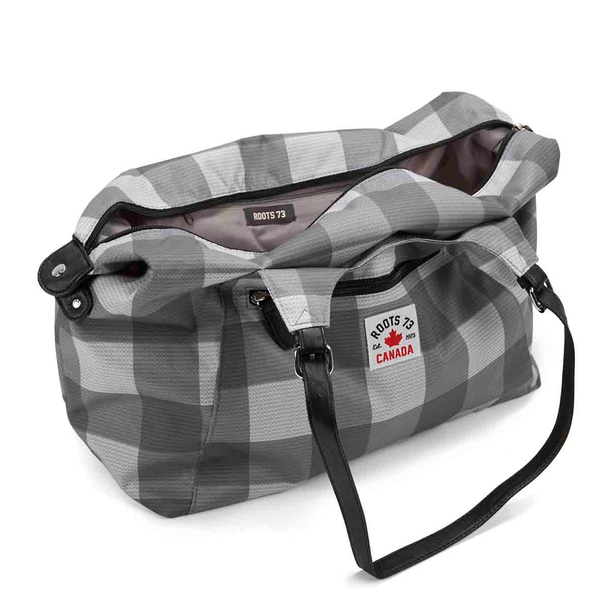 Lds Roots73 grey plaid overnight bag