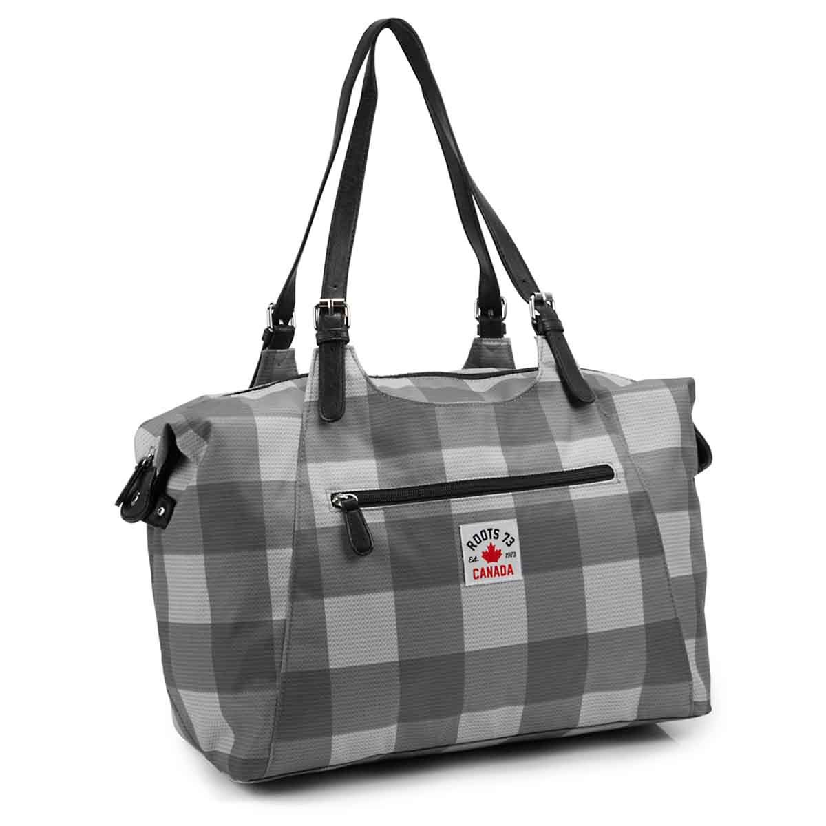 Women's R5469 grey plaid overnight bag