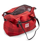 Lds Roots73 red plaid overnight bag