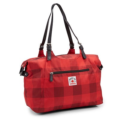 Roots Women's R5469 red plaid overnight bag