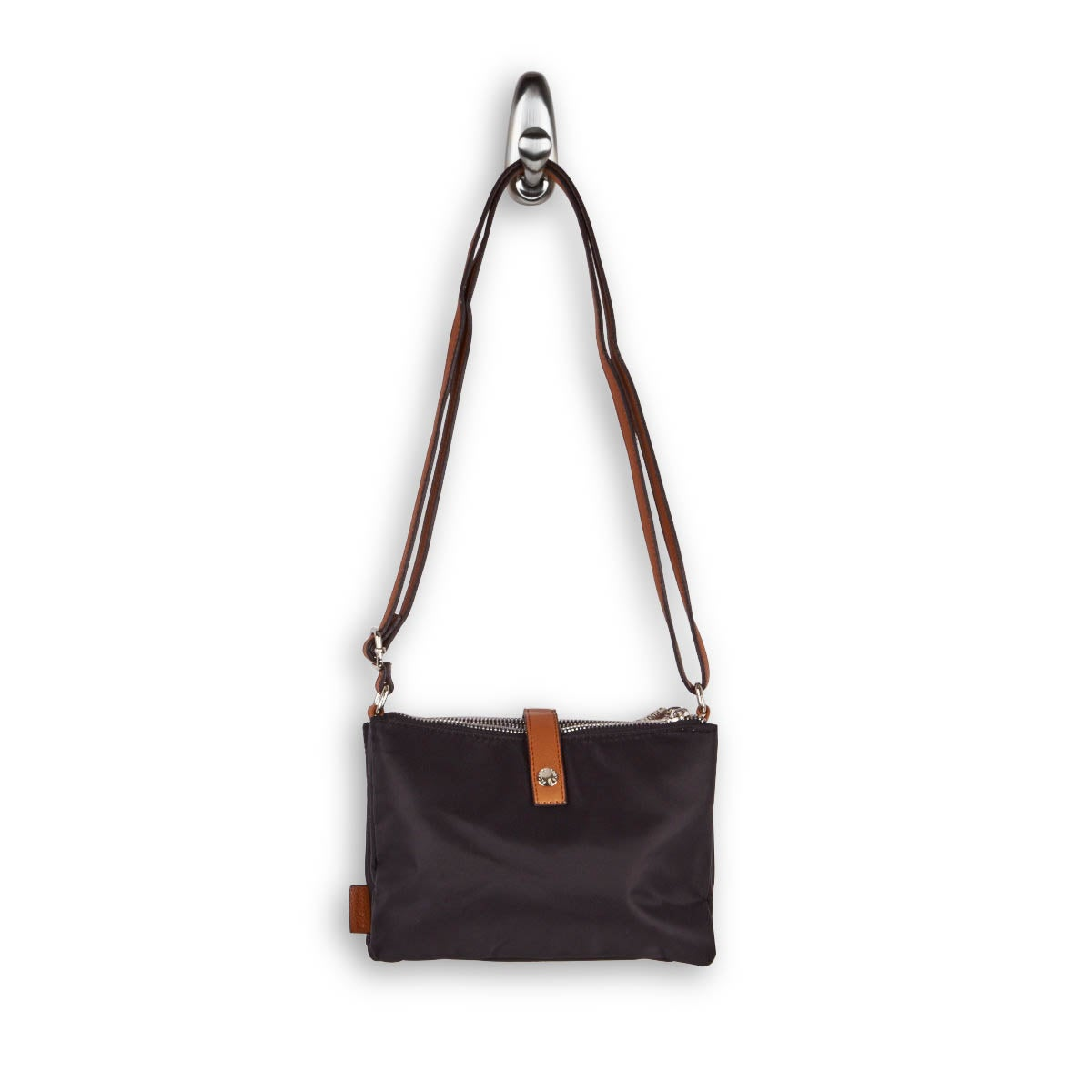 Lds black 3 top zip crossbody bag