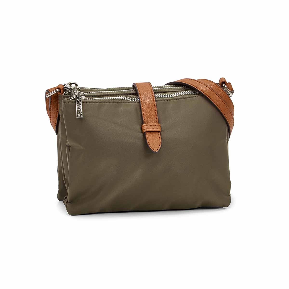 Lds khaki 3 top zip crossbody bag