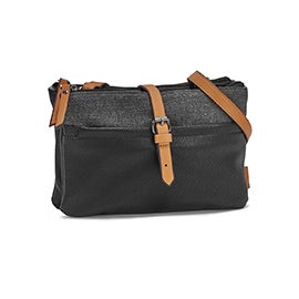 Roots Women's R5529 black EAST/WEST crossbody bag