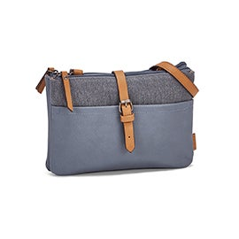 Roots Women's R5529 light blue EAST/WEST crossbody bag