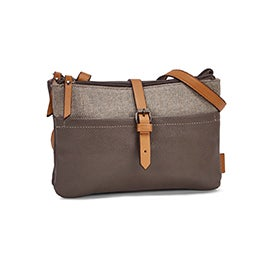 Roots Women's R5529 taupe EAST/WEST crossbody bag