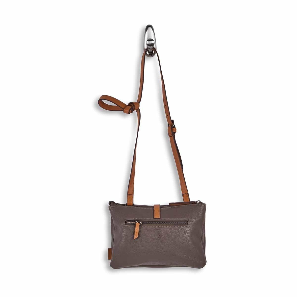 Lds taupe east/west crossbody bag