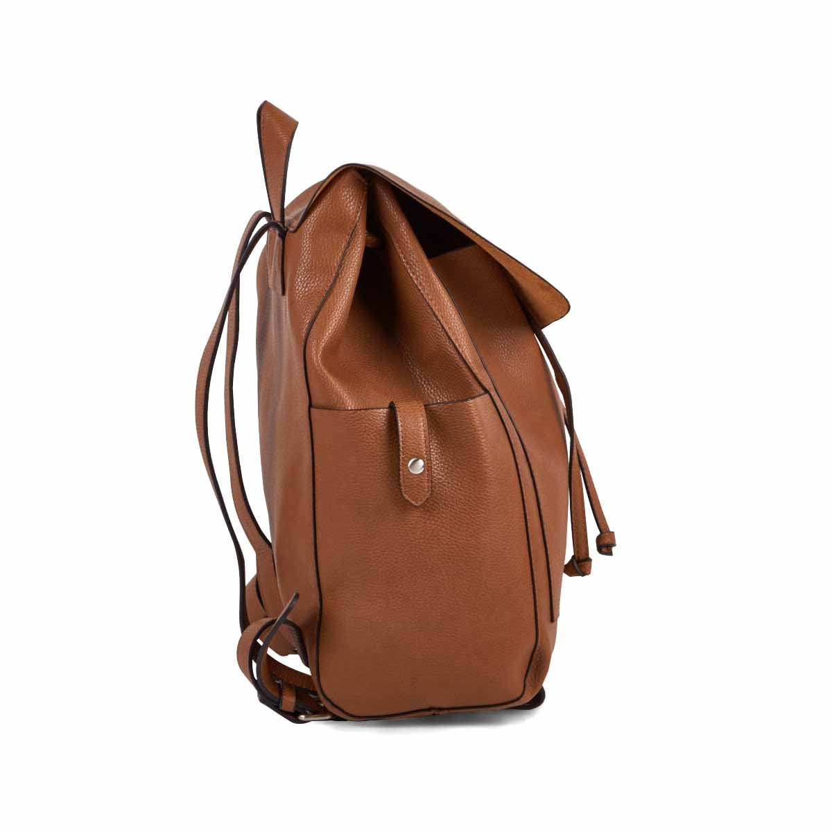 Lds cognac draw string w/flap backpack