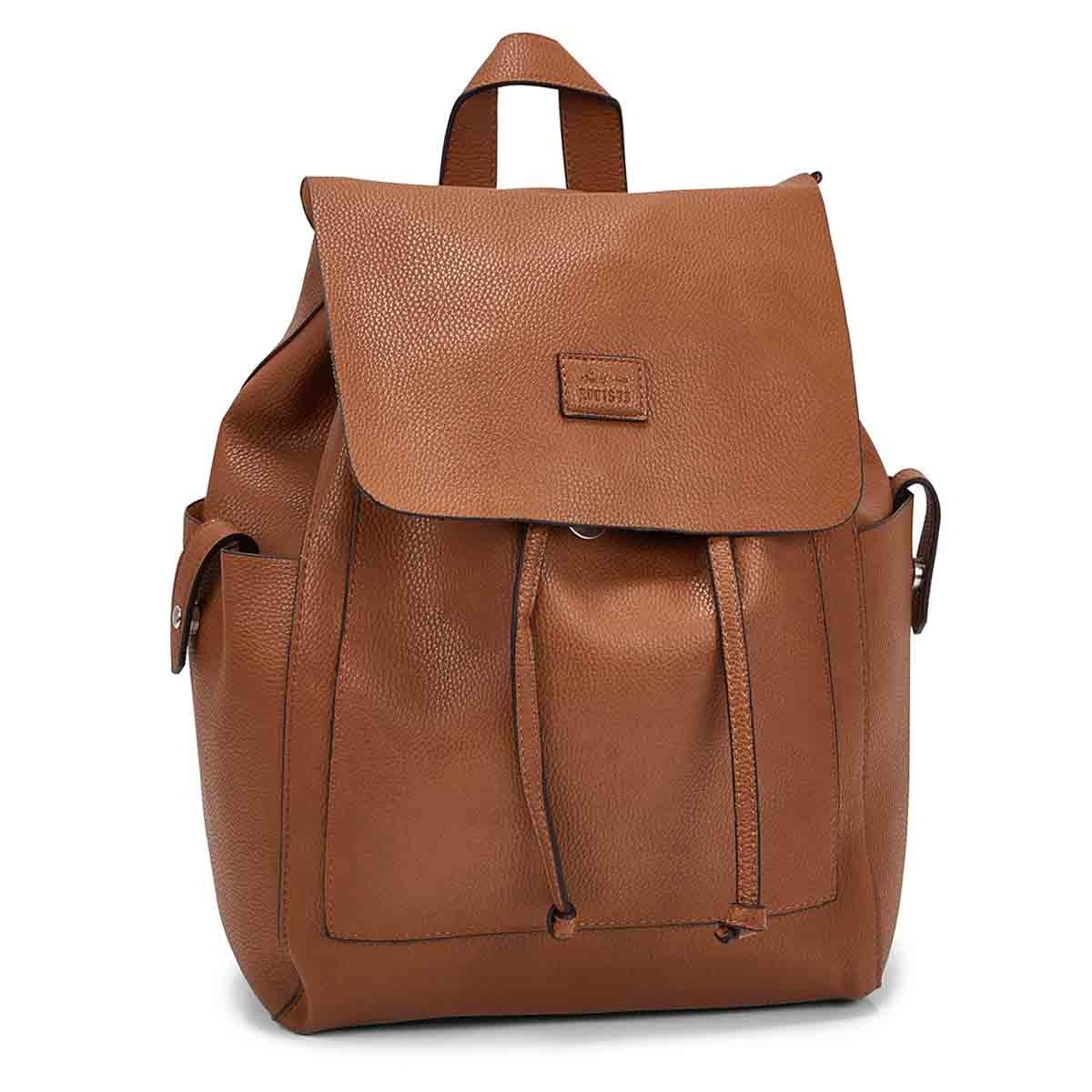 Women's R5545 cognac draw string backpack