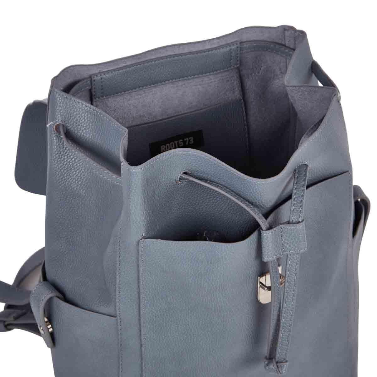 Lds lt blu draw string w/flap backpack