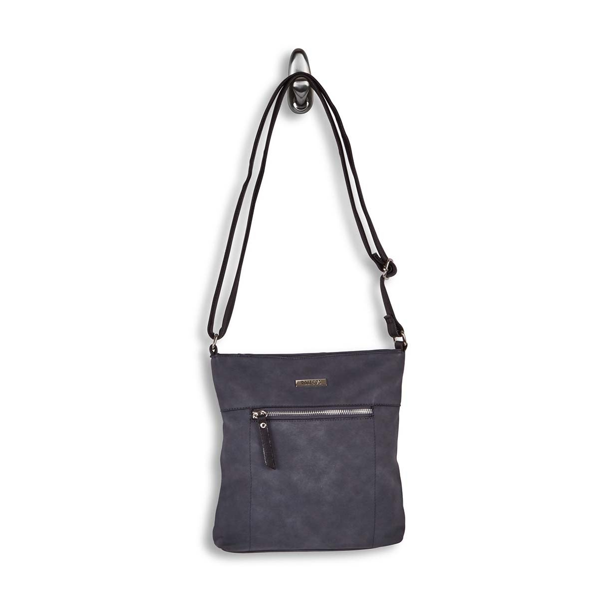 Lds denim north/south top zip crossbody