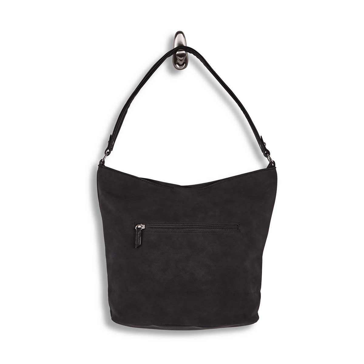 Lds black top zip closure hobo bag