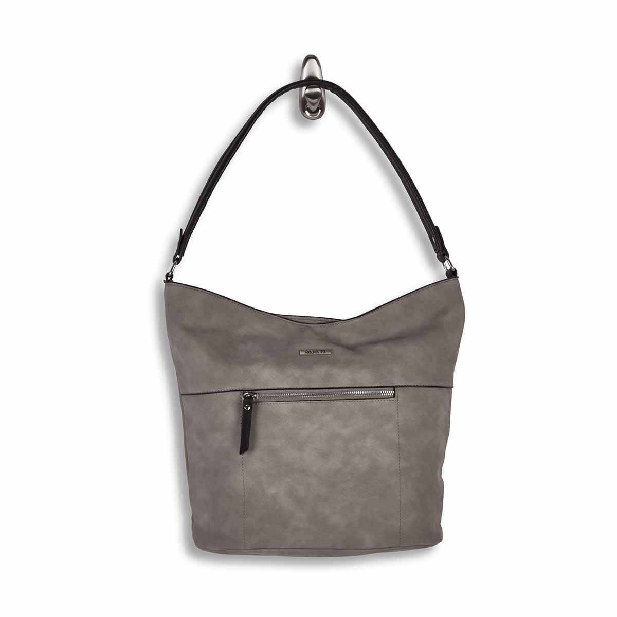 Lds grey top zip closure hobo bag