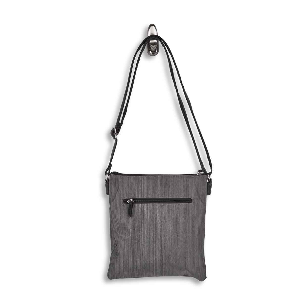Lds gry crossdye 2 compartment crossbody