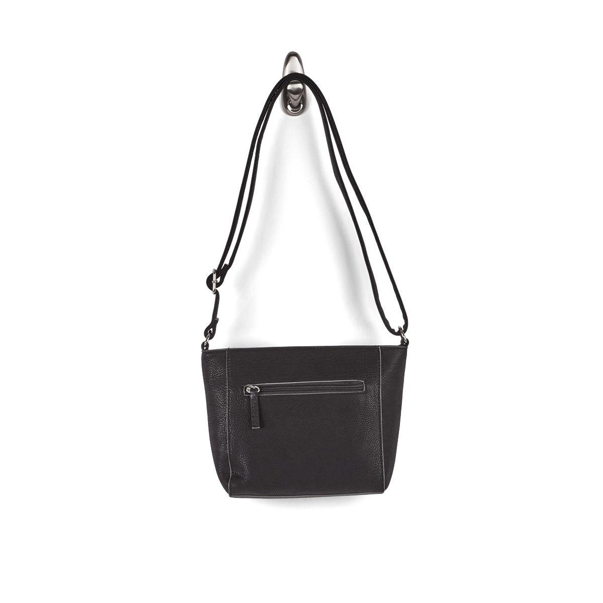 Lds black top zip closure shoulder bag