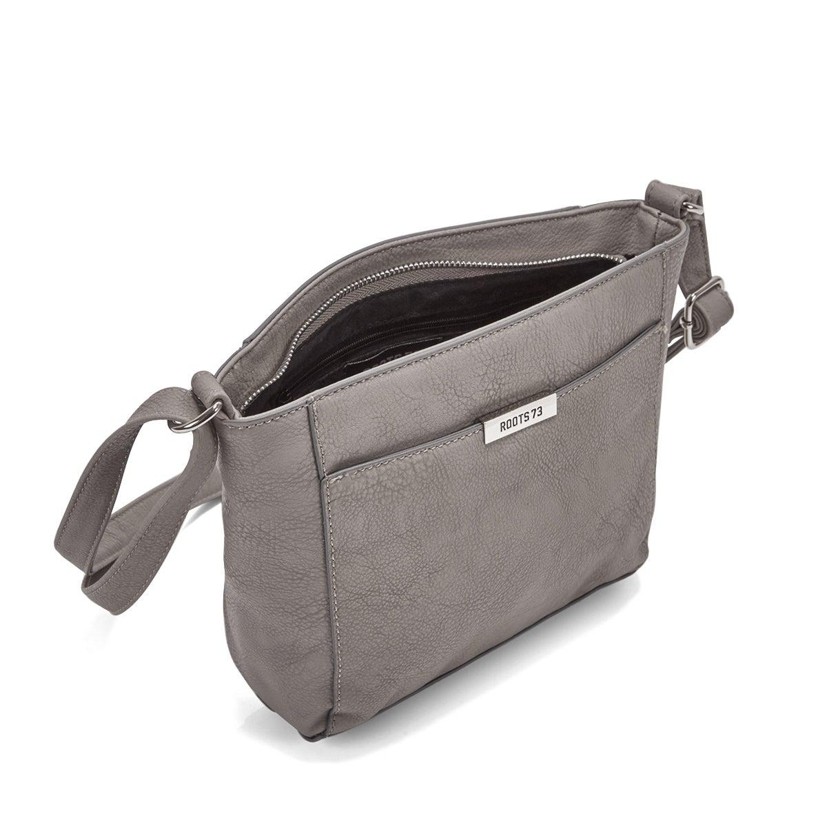 Lds grey top zip closure shoulder bag