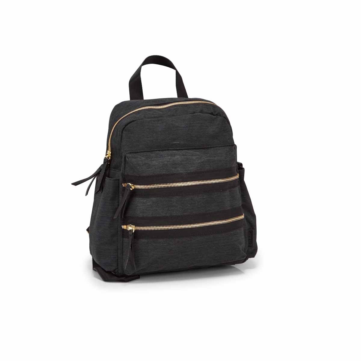 Lds Roots73 blk double zip mini backpack