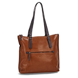 Roots Women's R5632 cognac large tote bag
