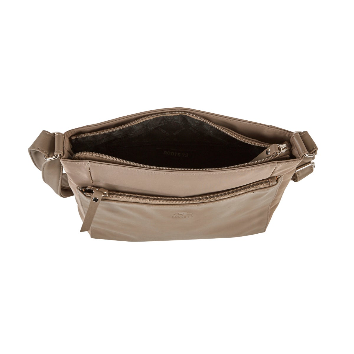Lds Roots73 taupe top zip crossbody