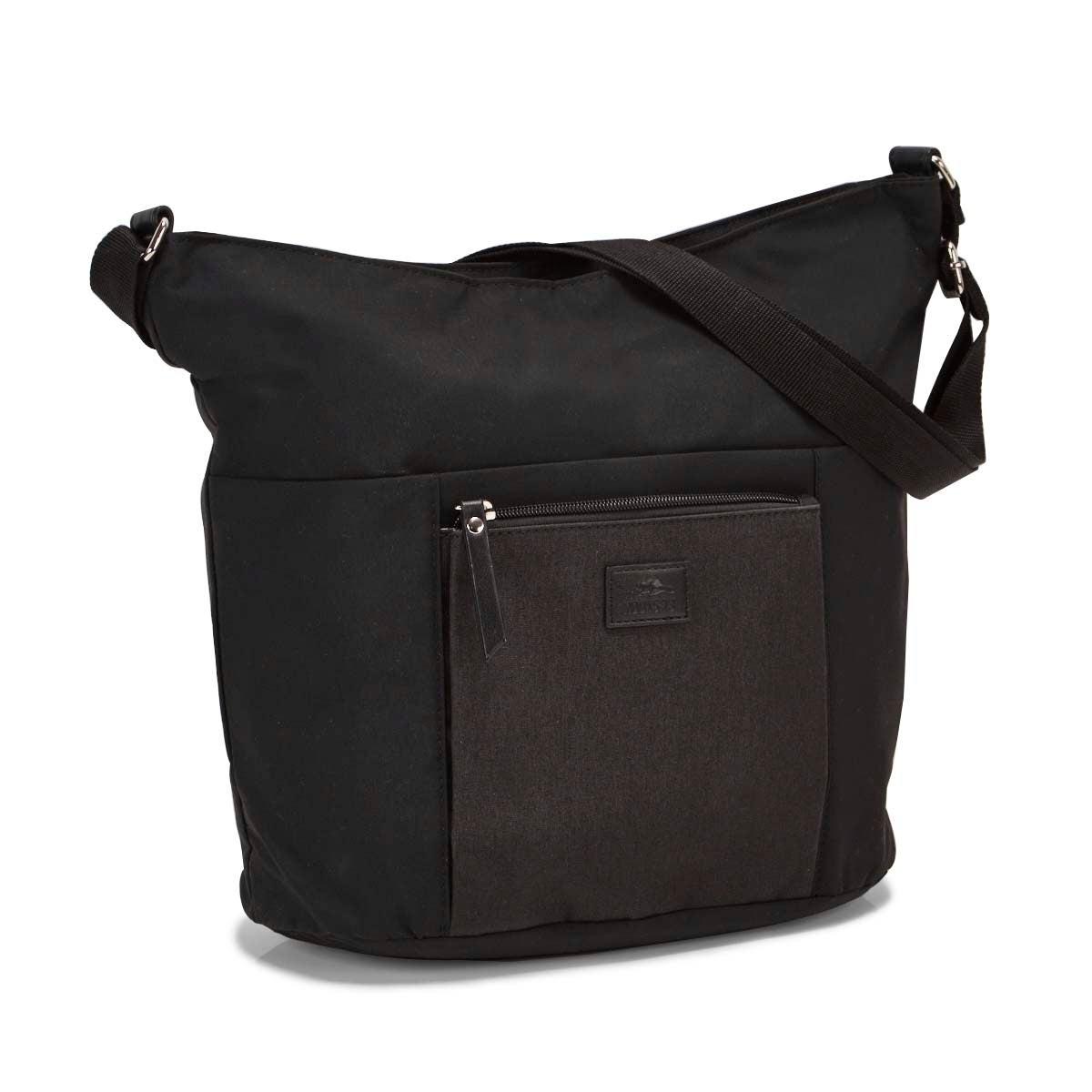 Lds Roots73 black front pocket hobo bag
